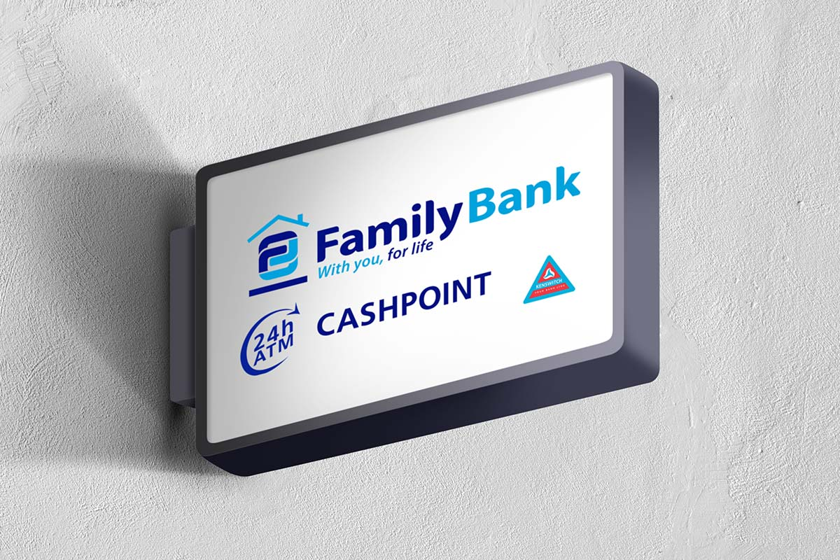 Family Bank Cashpoints (Vector image of a light box sign)