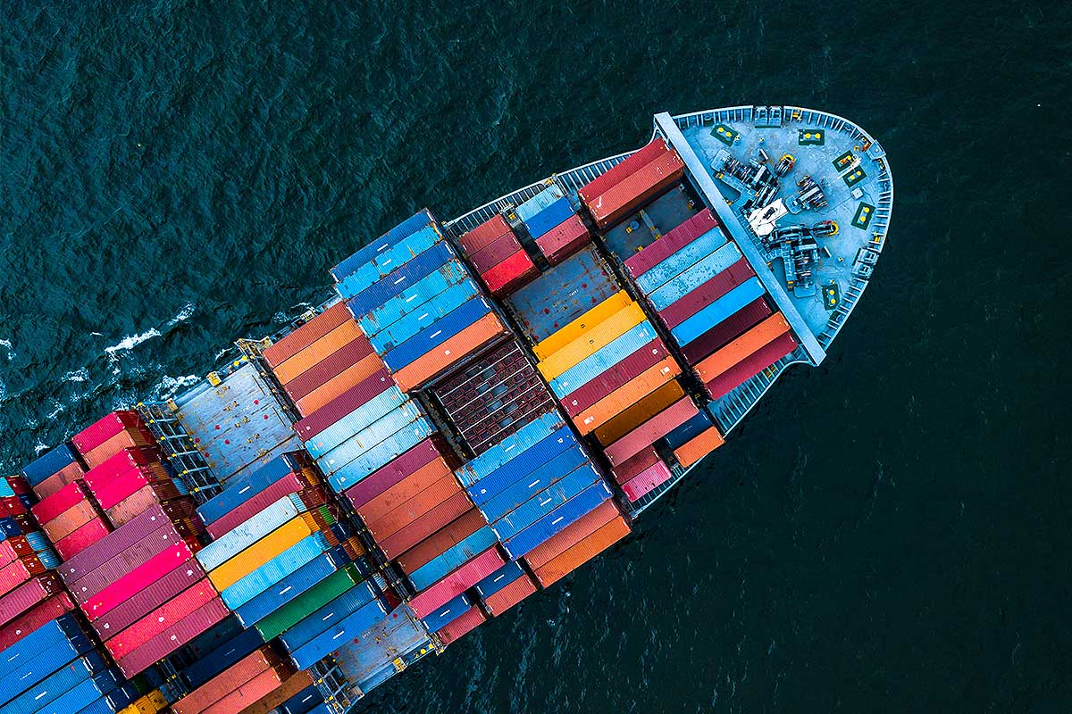 Marine Insurance (overhead image of a cargo ship)